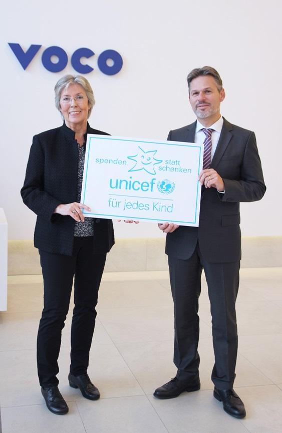 """VOCO unterstützt auch 2018 die UNICEF-Aktion """"Spenden statt schenken"""". Elke Schm"""