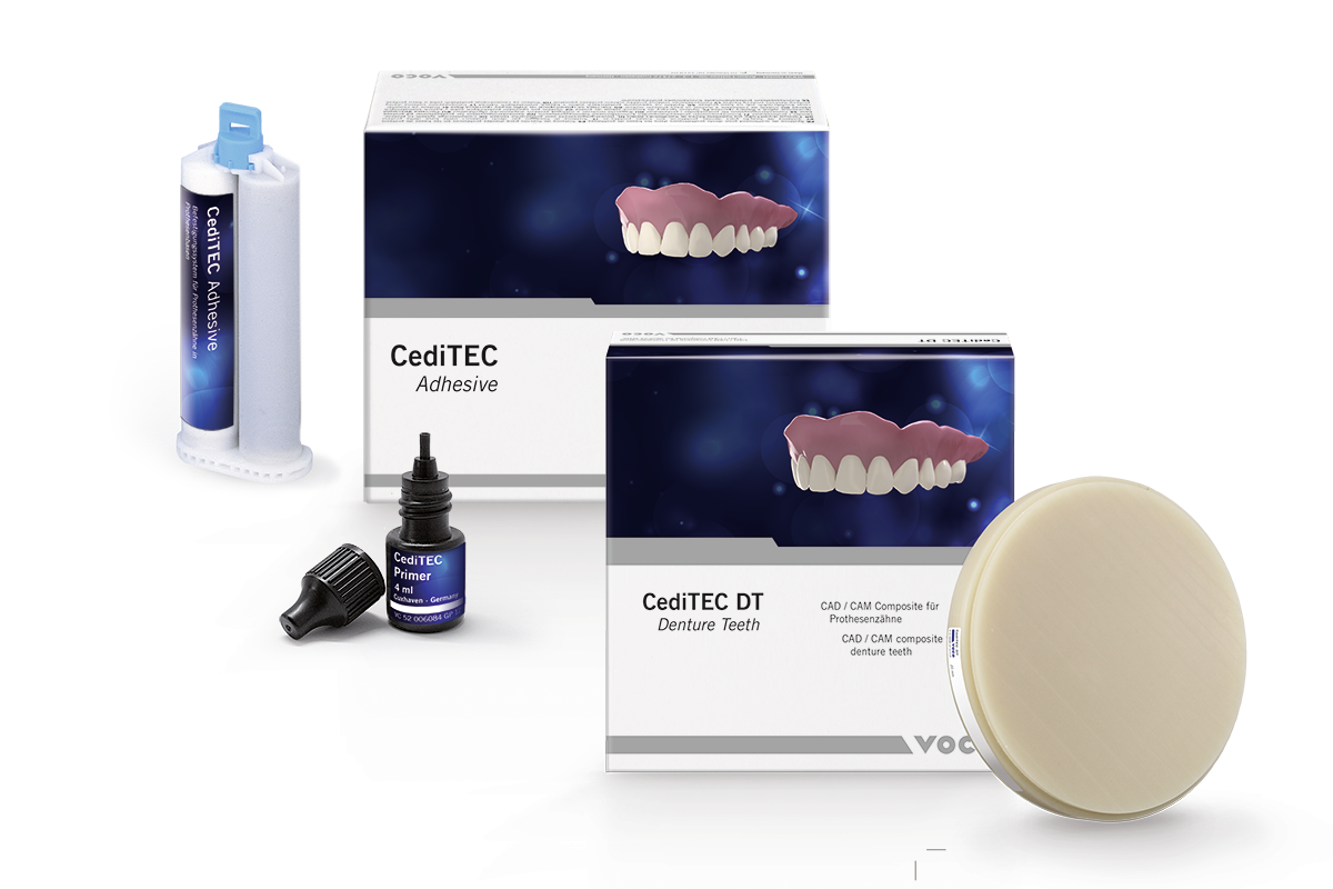 CediTEC provides the material for the prosthetic teeth as well as the luting mat