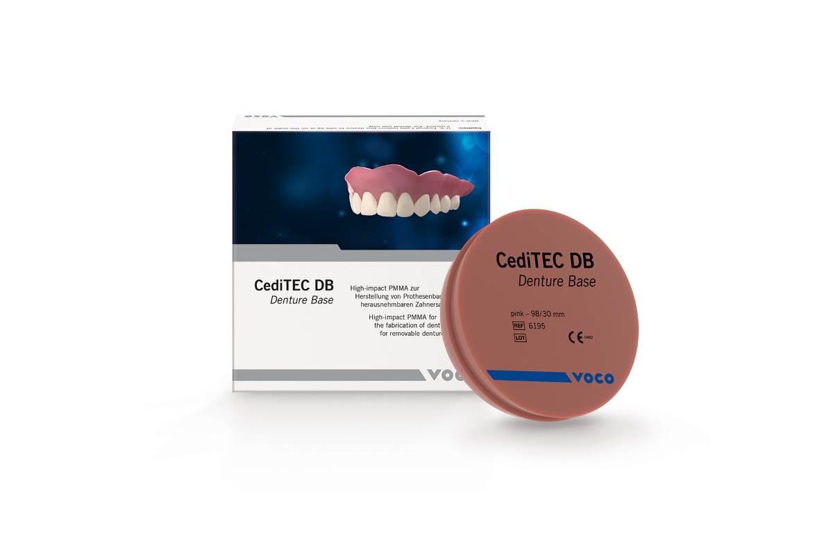 CediTEC DB est une résine PMMA durcie sous forme de disque de 98 mm et de 30 mm